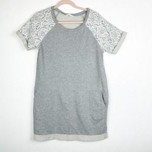 Caslon Lace Short Sleeve Terry Shift Dress Women M